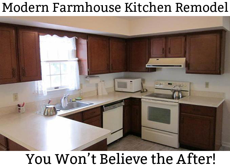 Farmhouse Kitchen. See how a 1980's kitchen was turned into a farmhouse kitchen. It was an inexpensive kitchen remodel. #farmhousekitchen #diykitchen #whitekitchen