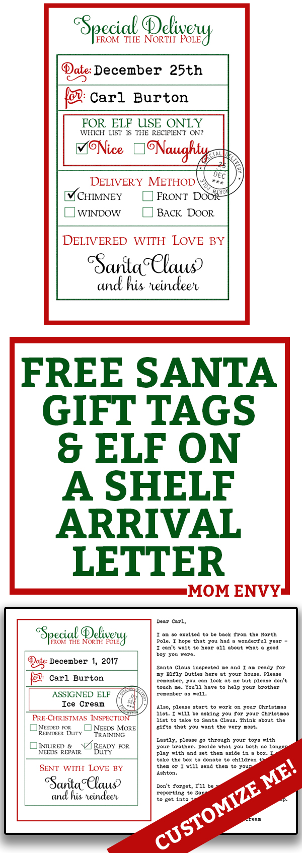 Free Custom Santa Gift Tags And Elf Arrival Letter   Free Printables