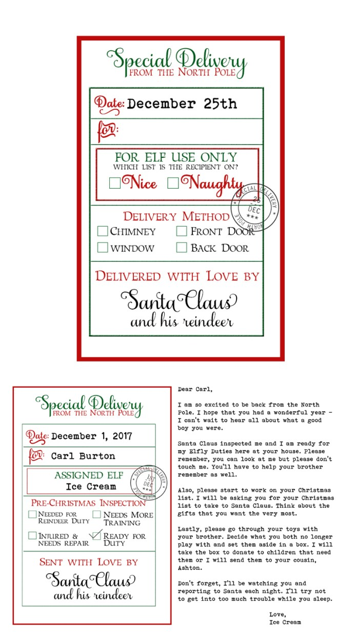Free Custom Santa Gift Tags and Elf on a Shelf Arrival Letter. Free printable Christmas gift tags from Santa and Free Elf on a Shelf printable. #christmas #freechristmasprintables #gifttags #elfonashelf