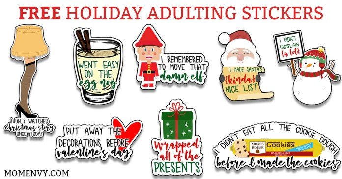 Free funny Christmas planner stickers - Free Holiday Adulting Stickers. Sick of no longer receiving gold stars? Then these stickers are for you. They work great as free Happy Planner stickers, Erin Condren, Recollections, and more. #freeplannerprintables #happyplanner #freestickers #christmas