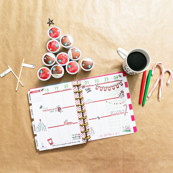 #ad FREE Christmas Coffee Planner stickers from How to Create a Coffee Bar with Starbucks®. Learn some tips and tricks for setting up a holiday coffee bar. Learn how to make a festive party space this Christmas. Free printables included - holiday coffee banner, free coffee gift tag, free Christmas coffee planner stickers, and more. #SavorHolidayFlavors #starbucks #freebies #christmas #coffeebar #plannerstickers