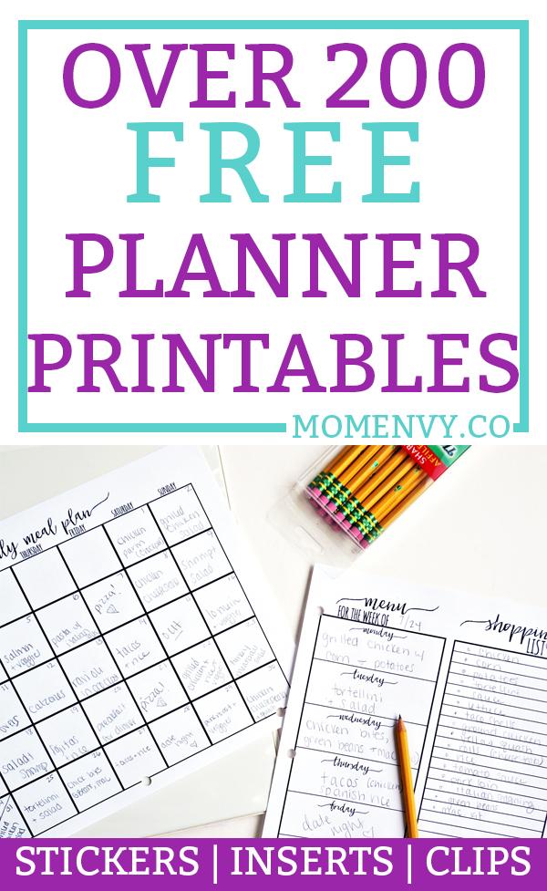 Free Planner Printables Over 200 Free Printables Stickersundated