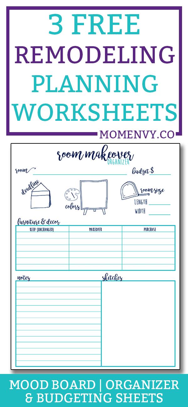Remodeling Planner - 3 worksheets to help plan your next makeover. Makeover budgeting sheet, remodel mood board planner, and remodeling planner worksheet. #DIY #planning #freeprintables #roommakeover