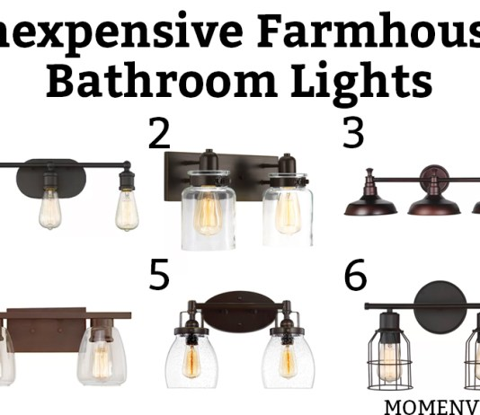 Inexpensive farmhouse bathroom lights. Which inexpensive bathroom light would you choose? All lights are under $85! #bathroom #lighting #farmhousestyle