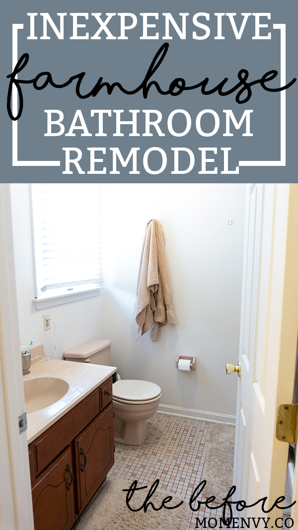 DIY Bathroom Remodel - the before. Check out the start of our One Room Challenge Spring 2018 DIY bathroom remodel as we go from 80's pink to farmhouse. #farmhouse #farmhousebathroom #oneroomchallenge