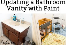 Updating a vanity with paint is an inexpensive DIY fix. Even beginners can get this project done in a day! #diy #diybathroom #diyproject #inexpensivediy