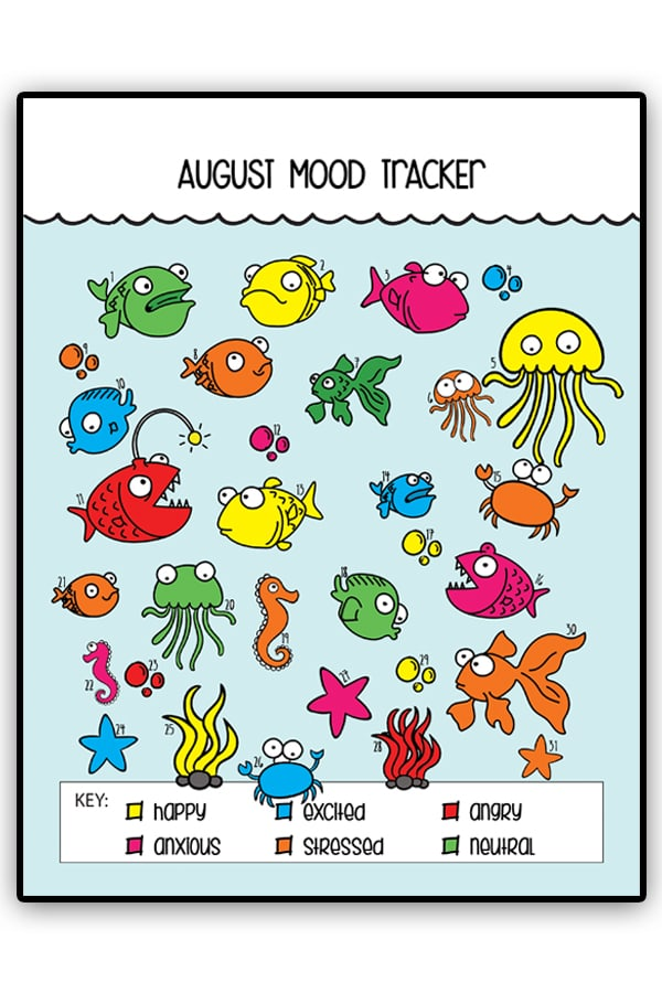 """Free Ocean Mood Tracker and Bullet Journal Tracker. This adorable bullet journal tracker can be used for all sorts of topics from mood tracking, to no spend, to days drinking water or not saying """"sorry,"""" tracking weight loss, a count down to a trip, etc. #planneraddict #bujo #bulletjournal"""
