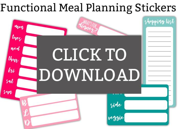 Meal Planning Stickers - download 6 free meal planning stickers. Make your meal planning easier. Perfect planner stickers or calendar stickers. Weekly meal sticker, daily dinner sticker, detailed daily dinner sticker, shopping list planner sticker, and more. #happyplanner #planneraddict #plannerlove
