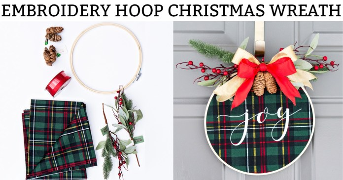 Embroidery hoop Christmas wreath. Create this easy and beautiful Christmas wreath using HTV. It's an easy Silhouette or Cricut Christmas craft. #silhouette #cricut #christmasdecor #christmasdiy