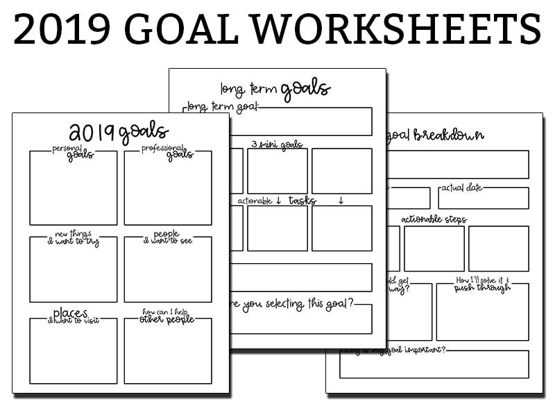 Goal Setting Worksheets - 3 Free Goal Planner Printables
