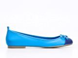 Ann Taylor Shanna Colorblocked Leather Ballet Flats in Damsel Blue