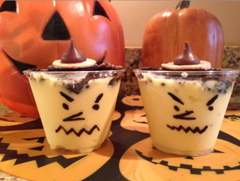 Hersey Kiss Witch Pudding Cups