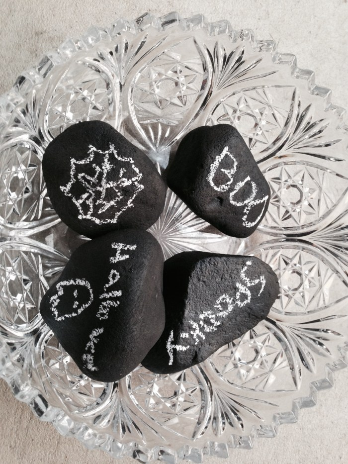 Chalkboard Rocks great for Halloween Decor!