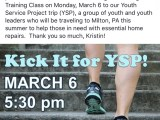 Kick it for YSP and Sweat for a Cause at the Brecksville United Methodist Church – Monday, March 6th