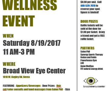 Beauty and Wellness Event at Broad View Eye Center in Berea on Saturday 8/19/17 from 11AM-3PM