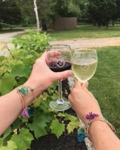 Matching bracelets... they go well with glasses of wine!