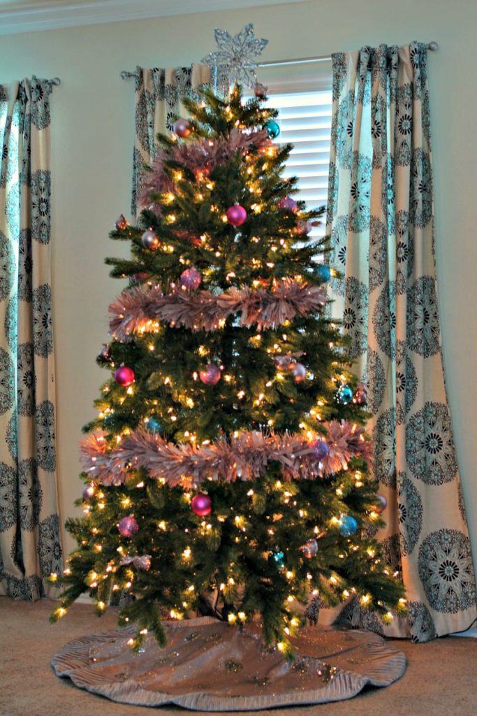Christmas tree from Tree Classics, decorate in honor of Breast Cancer Awareness Month.