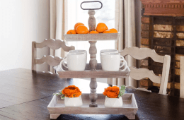 Rustic Wooden Three Tiered Tray
