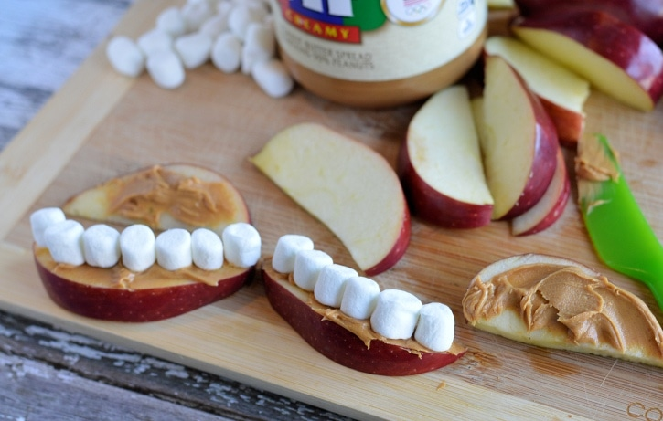 Apple Peanut Butter Teeth - adding mini marshmallows