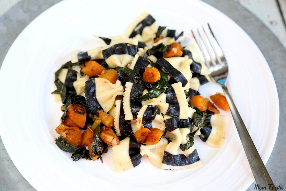 Vegetarian Halloween Dinner Black & White Farafalle with Butternut Squash & Kale