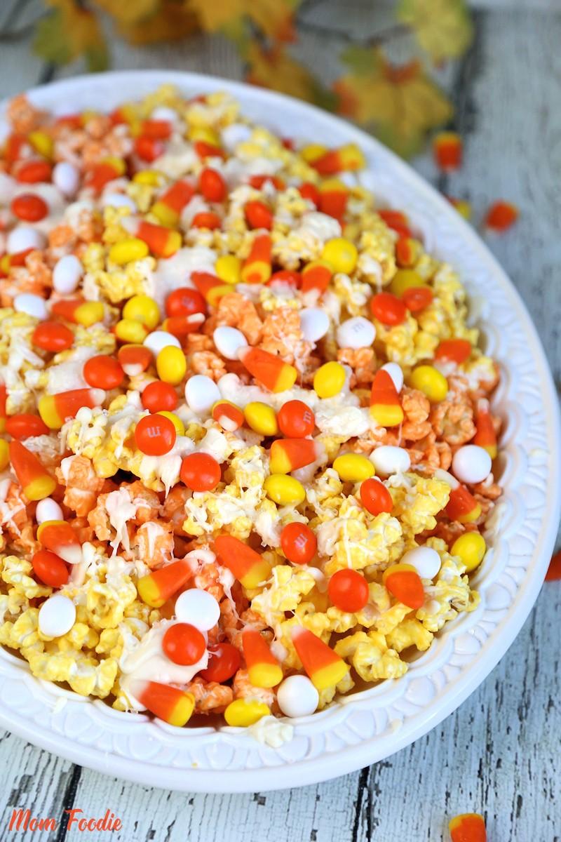 Candy Corn Popcorn Recipe Colorful Fall Popcorn Snack Mix