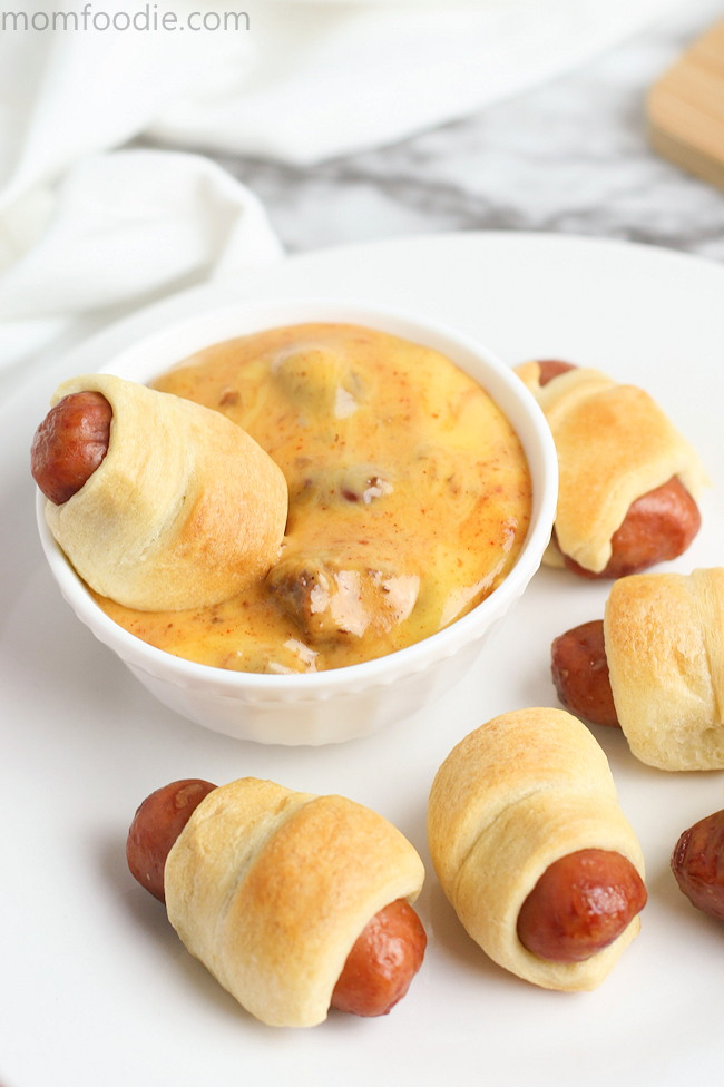 Chili Cheese Dip with Mini Pigs in a Blanket