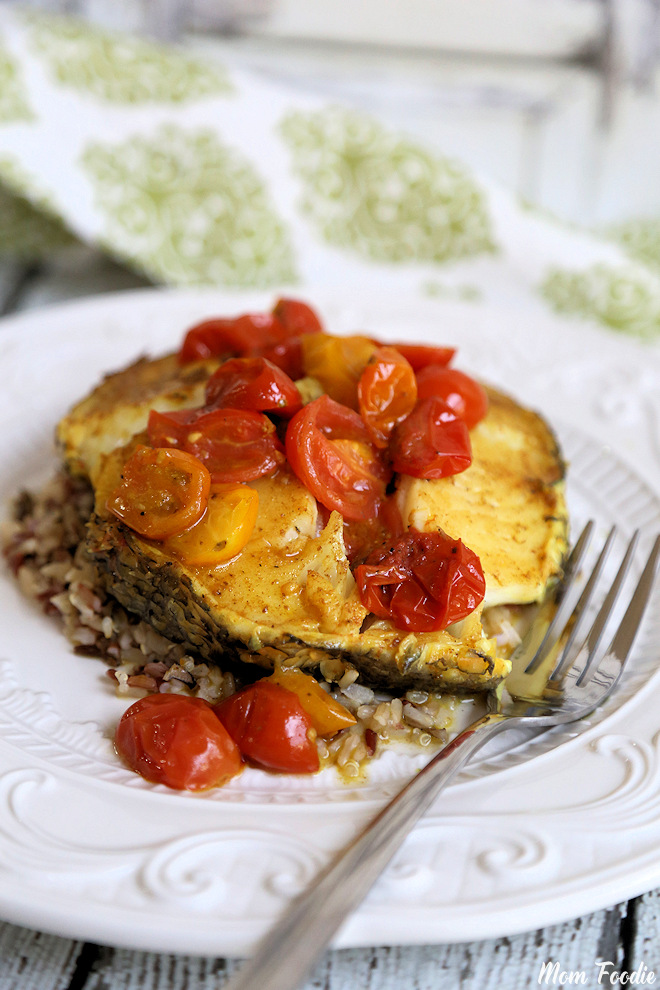 Curried Chiliean Sea Bass with Blistered Tomatoes Recipe