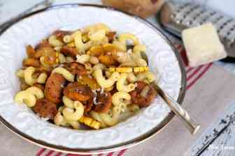 Delicata Squash White Bean and Sausage Pasta