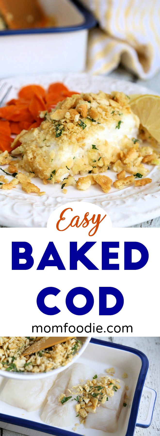 Baked Cod - easy baked cod recipe with craker crumb topping #seafood #cod #fish #fishrecipe