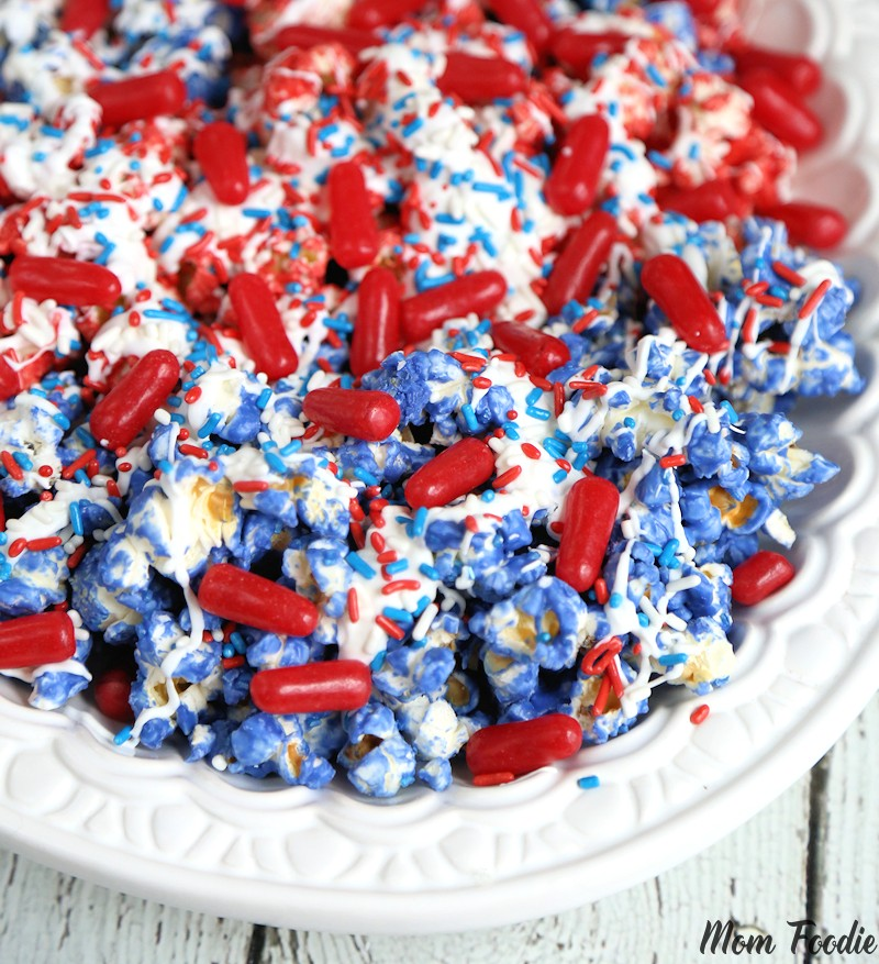 4th of July Popcorn - Red White & Blue Fourth of July Popcorn recipe