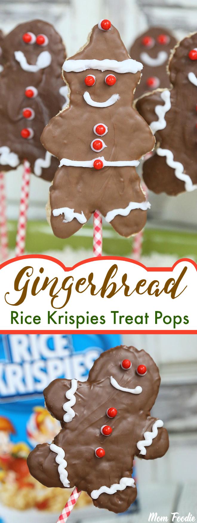 Gingerbread Christmas Rice Krispies Pops