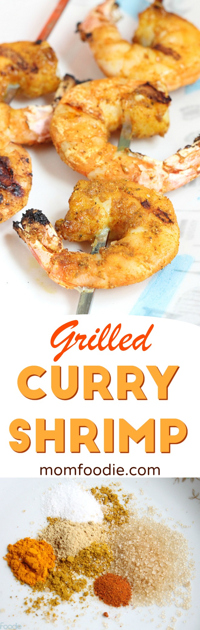 Grilled Curry Shrimp - Grilled wild shrimp in a sweet and spicy curry dry rub.