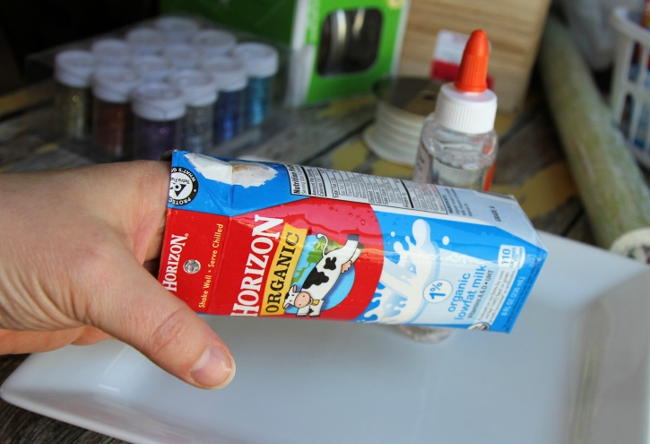 Horizon Milk Carton being upcylced to hold bath salts - adding glue