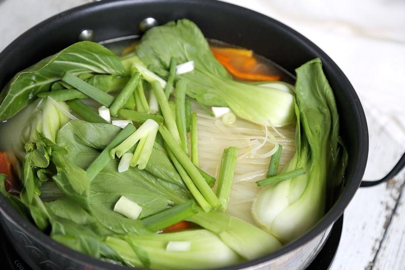 Korean Meatball Hot Pot noodles and vegetables