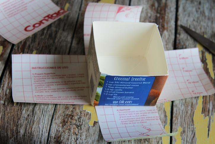 Making milk carton into decorative box