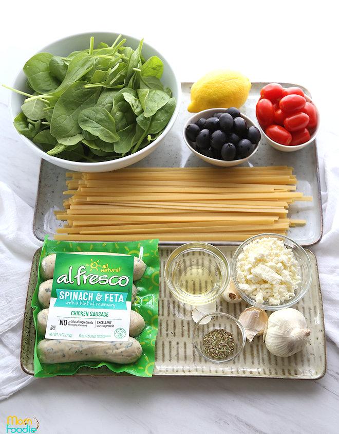 Mediterranean Sausage Pasta Ingredientsj