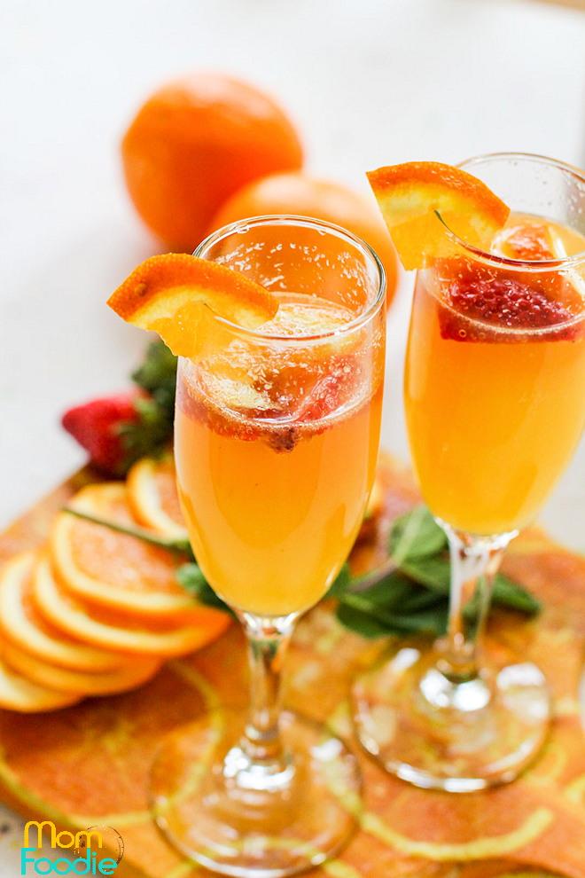 Orange Strawberry Mimosas