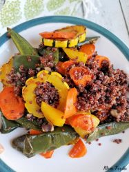 Roasted Delicata Squash, Golden Beet, Carrot and Poblano Red Quinoa recipe