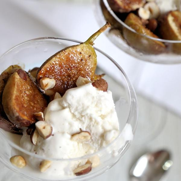 Roasted Figs with Vanilla Ice Cream and Hazelnuts