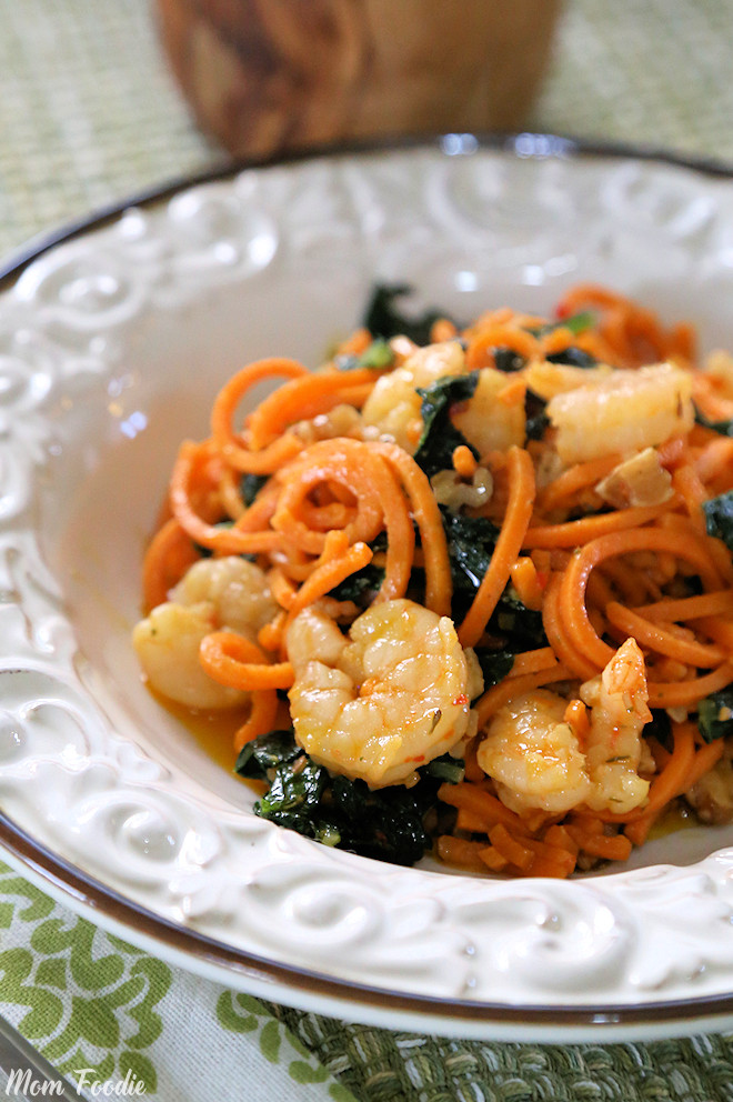 Shrimp Scampi Sweet Potato Noodles with Kale and Walnuts