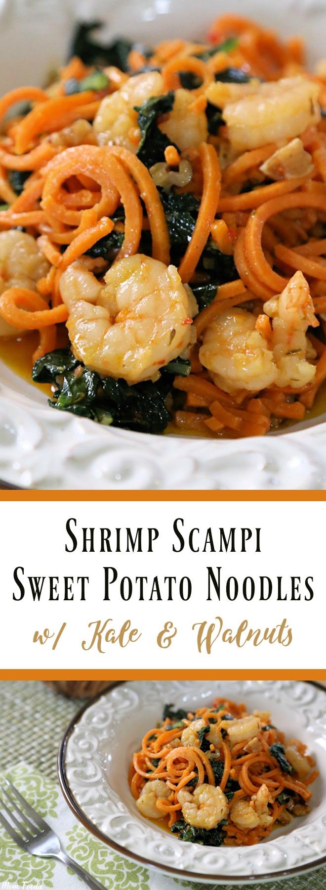 Shrimp Scampi Sweet Potato Noodles with Kale & Walnuts