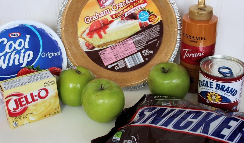 Snickers Caramel Apple Pie - Easy no bake dessert - ingredients
