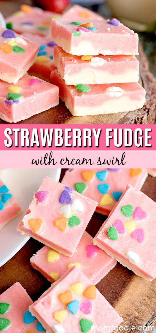 Strawberry Fudge with Cream Swirl
