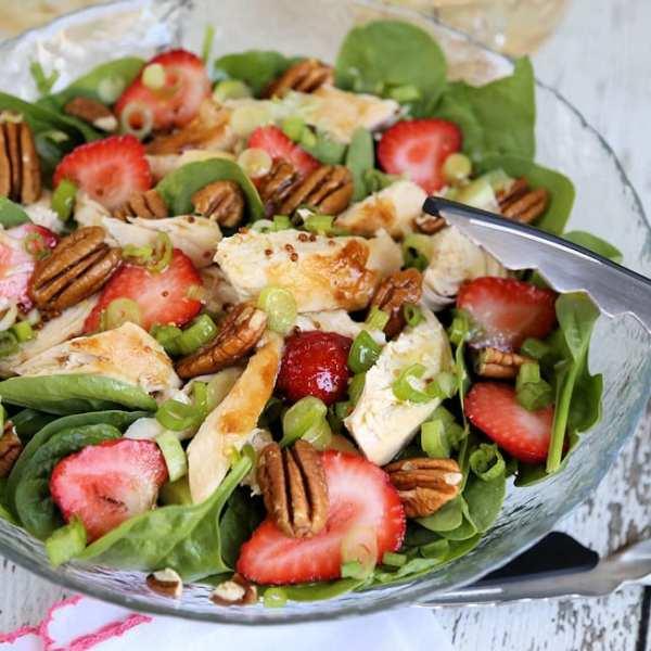 Strawberry Pecan Chicken Salad w Green Tea Citrus Vinaigrette