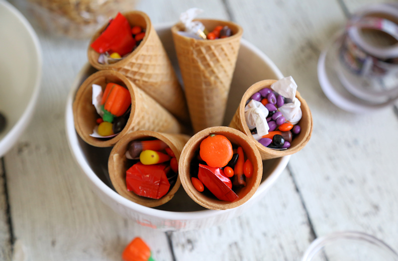 Surprise Inside Edible Witch Hats filling the cones
