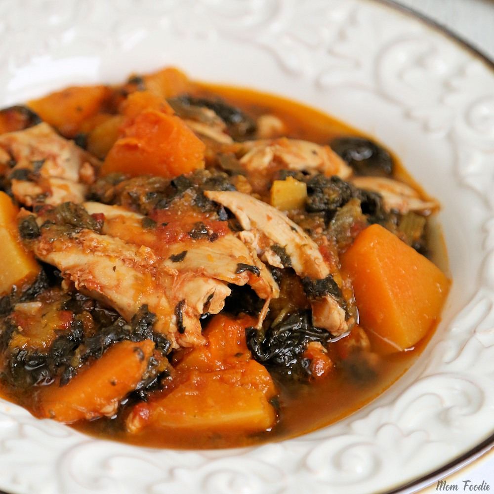 Whole 30 Slow Cooker Chicken Thighs Butternut Squash Spinach