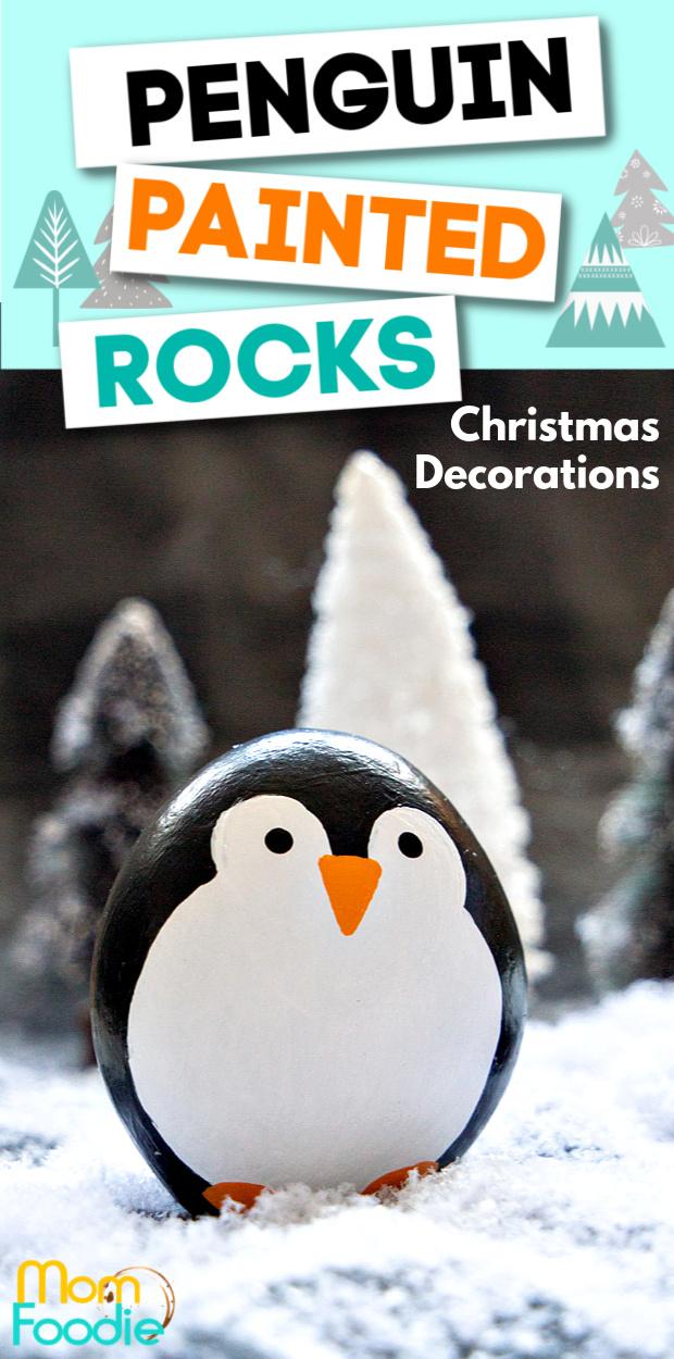 Christmas Penguin Painted Rocks Craft