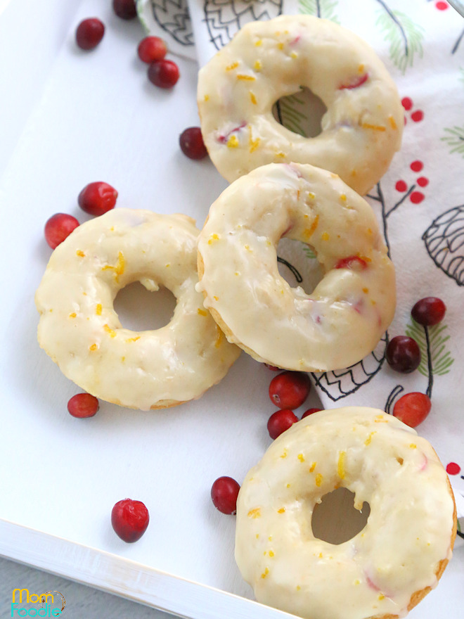 cranberry donuts with orange ginger glaze