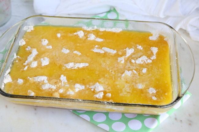dump cake ready for oven