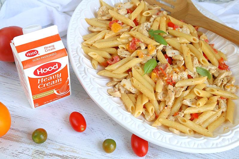 heirlloom tomato and cream pasta with chicken